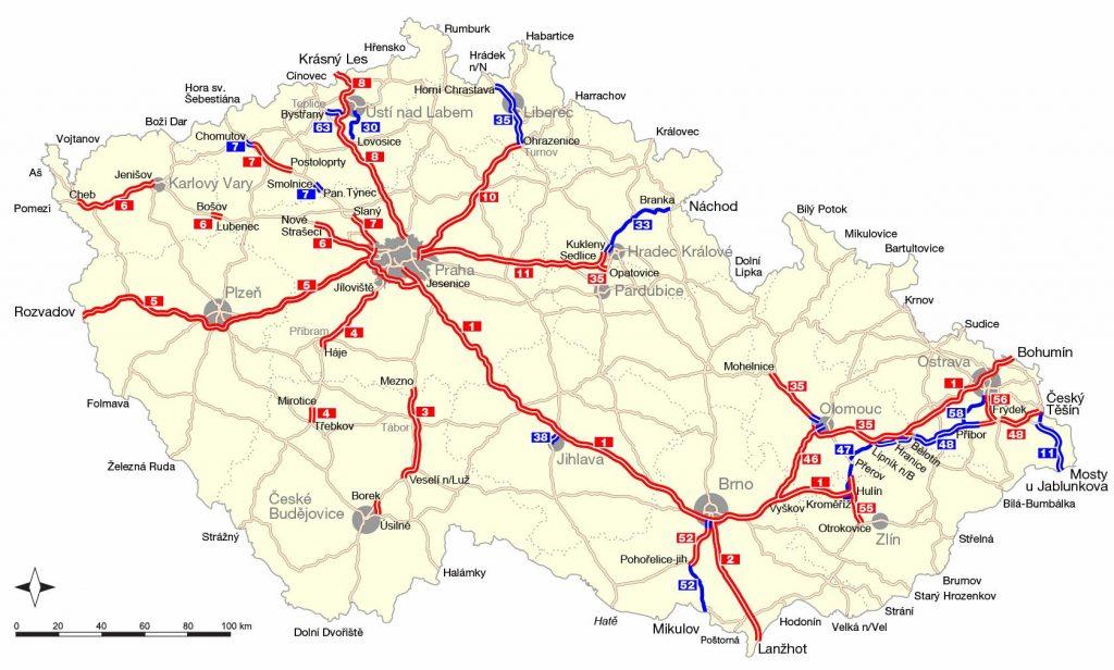Карта платных автодорог Чехии